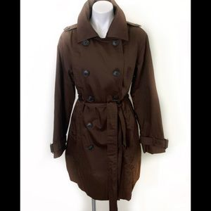 Brown Trench coat double breasted with waist belt